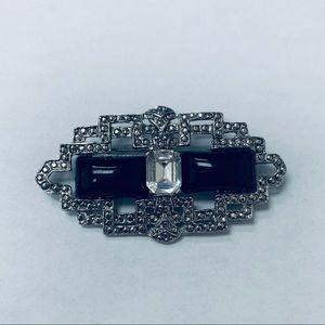Vintage Brooch with Black Onyx